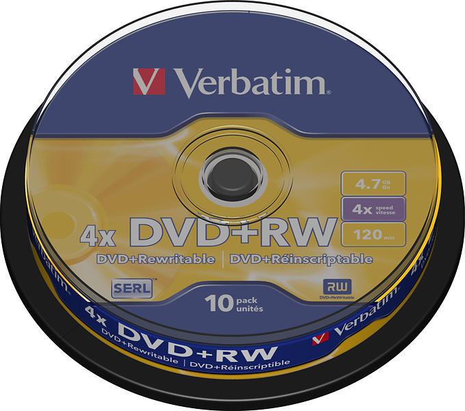 Verbatim DVD+RW 4,7GB 4x 10pz Spindle