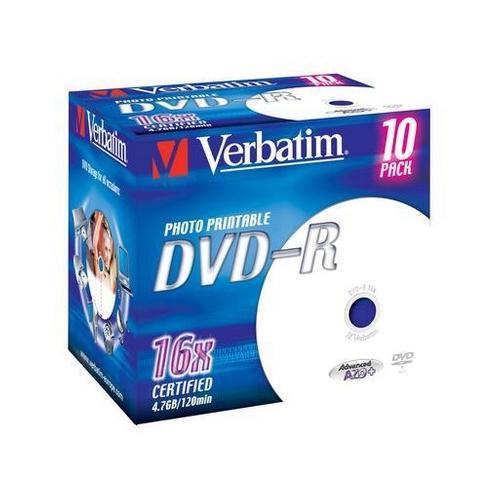 Verbatim DVD-R 4,7GB 16x 10pz Jewelcase Glossy Inkjet