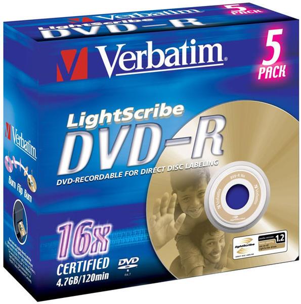 Verbatim DVD-R 4,7GB 16x 5pz Jewelcase Lightscribe