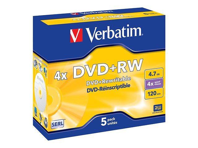Verbatim DVD+RW 4,7GB 4x 5pz Jewelcase