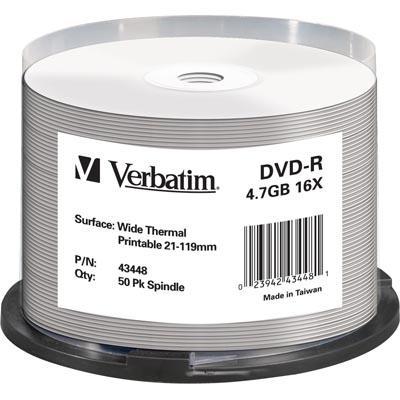 Verbatim DVD-R 4,7GB 16x 50pz Spindle Wide Thermal Printable