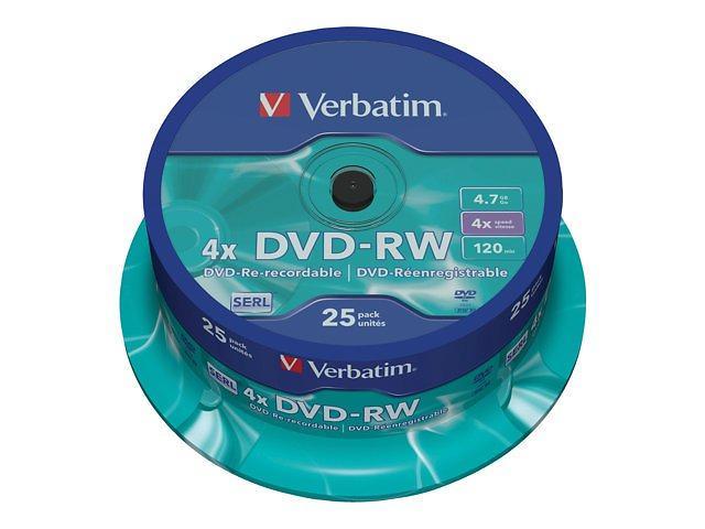 Verbatim DVD-RW 4,7GB 4x 25pz Spindle
