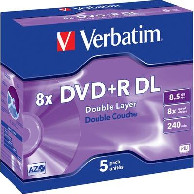 Verbatim DVD+R DL 8,5GB 8x 5pz Jewelcase