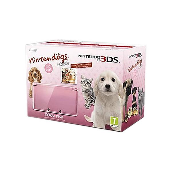 Nintendo 3DS (+ Nintendogs + Cats) - Coral Pink Edition