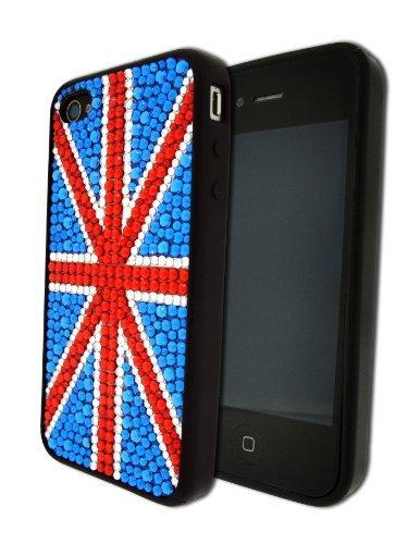 Bling It On Back Cover Diamante Flag GB for iPhone 4/4S