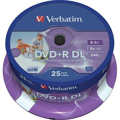 Verbatim DVD+R DL 8,5GB 8x 25pz Spindle Wide Inkjet