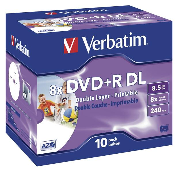 Verbatim DVD+R DL 8,5GB 8x 10pz Jewelcase Wide Inkjet