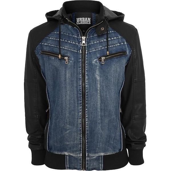 Urban Classics Hooded Denim Leather Jacket TB675 (Uomo)