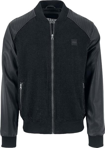 Urban Classics Cotton Bomber Leather Imitation Sleeve Jacket TB1163 (Uomo)