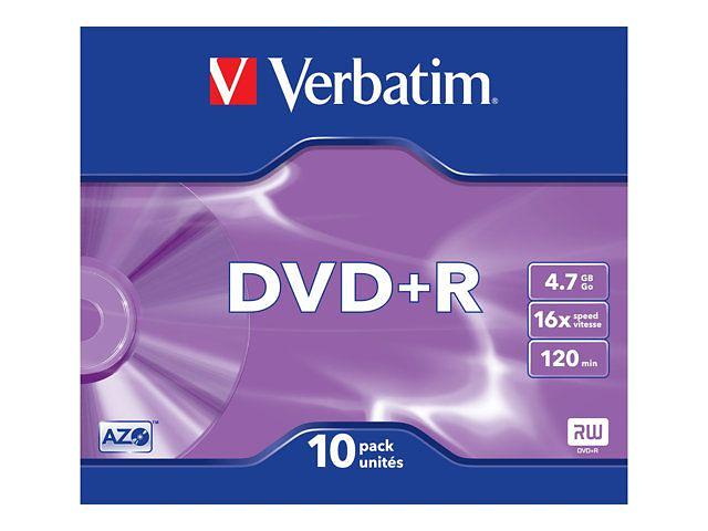 Verbatim DVD+R 4,7GB 16x 10pz Slimcase