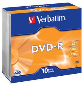 Verbatim DVD-R 4,7GB 16x 10pz Slimcase