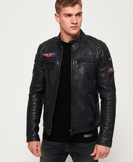Superdry Endurance Road Trip Leather Jacket (Uomo)