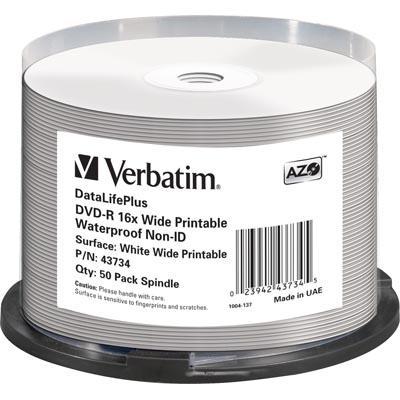 Verbatim DVD-R 4,7GB 16x 50pz Spindle Wide Inkjet Glossy Waterproof
